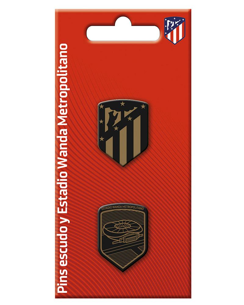 9baa8d72b50c7 ATLETICO DE MADRID Set de 2 pin escudo y estadio Wanda Metropolitano ...